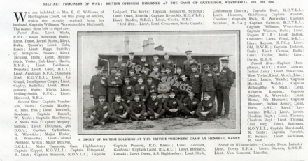 1916 British Officers Held Prisoner at GUTERSLOH Westphalia Germany